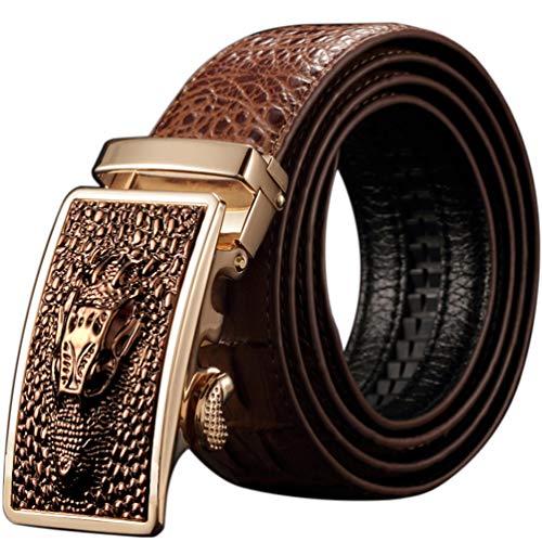 ES- Cowhide Belt Men's American Crocodile105-120 cm genuine cowhide belt gift box automatic buckle belt