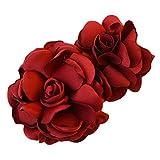 La fleur de simulation Pinces à cheveux décorations de cheveux (Vin rouge)...