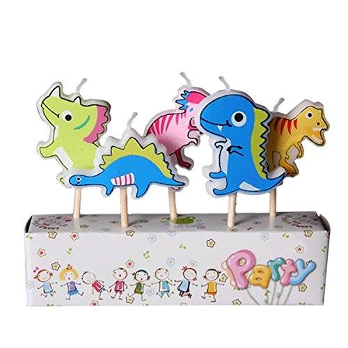 Gosear 5 piezas Parafina Decoración de Vela de Torta Fiesta de Cumpleaños con Palo de Madera Dibujos Animados para Niños (Dinosaurio)