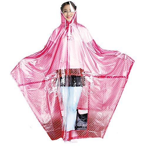 Milya Regenjacken Damen Regen Poncho mit Kapuze wasserdicht Regenmantel mit Doppel Hut Krempe PVC Atmungsaktive Regenbekleidung (Regen Hut)