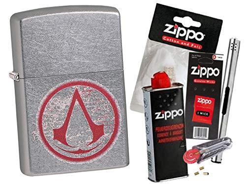 Zippo Assassin´s Creed Round Sign mit Zippo Zubehör Auswahl und L.B Chrome Stabfeuerzeug (mit Zubehör B)