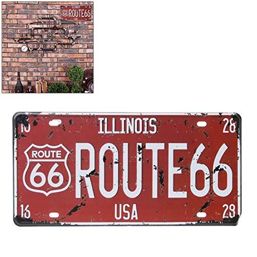 Surenhap Wand Deko, Nummernschild Route 66 USA R66 Vintage Kunstplakat Metall Blechschild für Garage Home Café Bar Wall Decor (C)