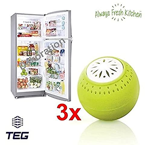 TEG40–Pack of 3–No Chemicals–Natural Odour Killer–Odour Neutraliser–Fridge Odour Remover with Activated