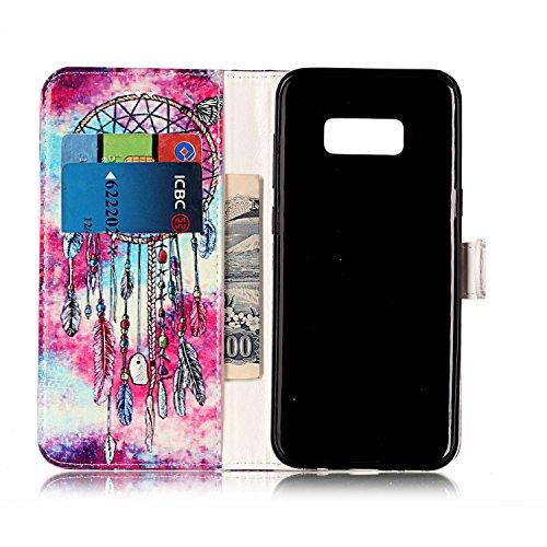 Samsung Galaxy S8 Plus Custoida in Pelle Portafoglio,Samsung Galaxy S8 Plus Cover Pu Wallet,KunyFond Lusso Moda Marmo Dipinto Leather Flip Protective Cover con Bella Modello Cover Custodia per Samsung Butterfly Campanula
