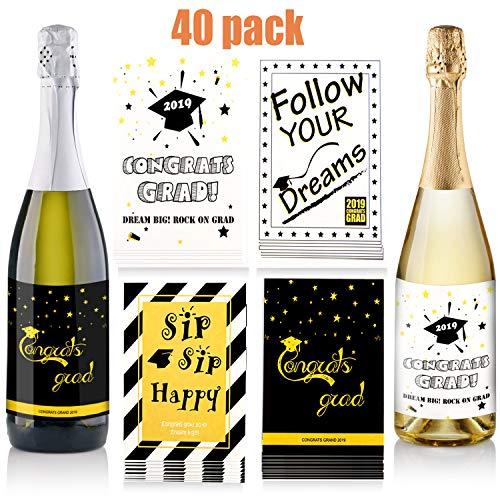 Zonon 40 Pièces Étiquettes Autocollantes de Vin de Graduation Autocollants de Bouteille de Graduation Étiquettes de Bouteille de Bière pour Fournitures de Fête de Graduation, 4 Styles