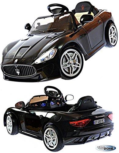 Kinderfahrzeug 12V Kinder Elektro Auto Maserati Gran Turismo MP3 USB EVA Gummiräder Ledersitz 2,4 GHZ schwarz