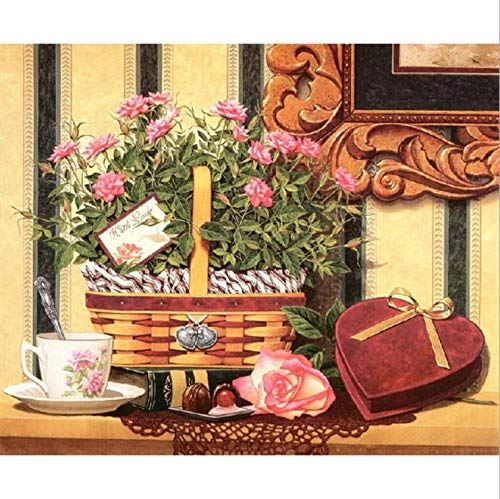 BWHome DIY 5d Diamond pintura por número Kit DIY 5D Diamante Pintura Decoración del hogar pintura Diamante redondo taladro completo Canasta de flores con caja de regalo amor 20x30cm Sin marco