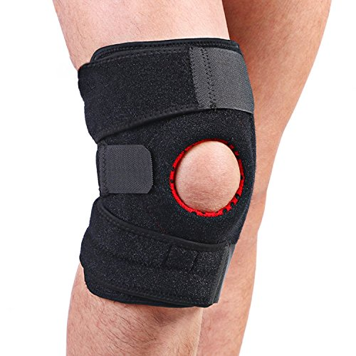 SGIN Genouillère Genou, Professionnelle protection du genou rotule ouverte confortable, Soutient et protège le ménisque renfort des articulations pour le sport, comme la course à pied, BasketBall - Black