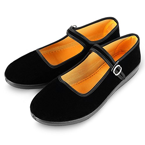 Women's Velvet Mary Jane Shoes Black Cottton Old Beijing Cloth Flats Yoga Exercise Dance Shoes (EU 39/UK 6)