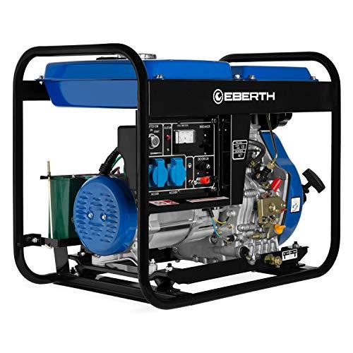 EBERTH 5000 Watt Diesel Stromerzeuger (E-Start, 10 PS 4-Takt Dieselmotor, Ölmangelsicherung, Automatischer Voltregler AVR, 1-Phase, 2x 230V, 1x 12V)