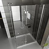 Duschkabine Eckeinstieg Dusche inkl. Nano Duschwand Duschabtrennung Wannenmaß 120x90x195 Ecke Dusche Test