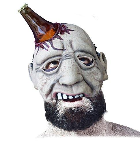 Halbmaske Bier Zombie Latex Horror Maske mit zerbrochener Bierflasche die aus Schädel ragt inklusive echtem Kronkorken Halloween Kostüm Schocker (Bier-halloween-kostüme)