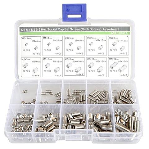 M3M4M5M6Grub Schrauben Sortiment Kit, 20Größe, Edelstahl, flach Point Set Schrauben