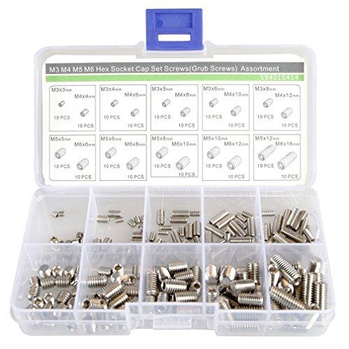 M3 M4 M5 M6 Grub Schrauben Sortiment Kit, 20 Größe, Edelstahl, flach Point Set Schrauben
