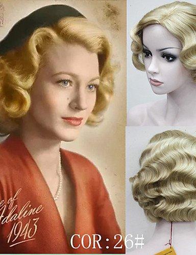 Fashion wigstyle Retro Perücke kurz Vintage fingerwaves Blonde Wave Kunsthaar Perücke mit Skin Top Kostenloser ()