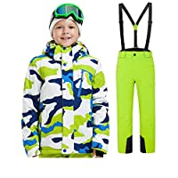 FMDD Kids Hooded Thicken ski snow suit Outdoor Ski Sports 2Pcs Ski Suits (Camouflage white+green, 120/6 Year)