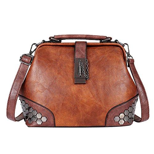 ADEMI Women's Lock Schultertasche Rivet Bag Handtasche Umhängetasche Ledertasche,Brown-M