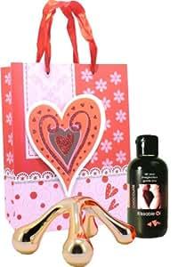 Coffret huile de massage comestible 150ml, Chocolat et masseur