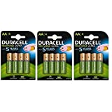 Duracell AA 2500mAh Recharge Ultra Rechargeable Batteries - Pack of 4 - Pre Charged / Stay Starged Replace 2400 (12 Pack)