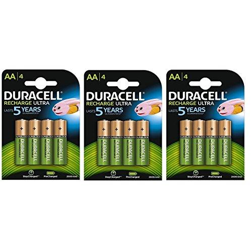 Duracell Duralock Akku PreCharged (AA, HR6, 1,2 Volt, 2500mAH) 12 Stück (Wiederaufladbare Batterien Duracell)