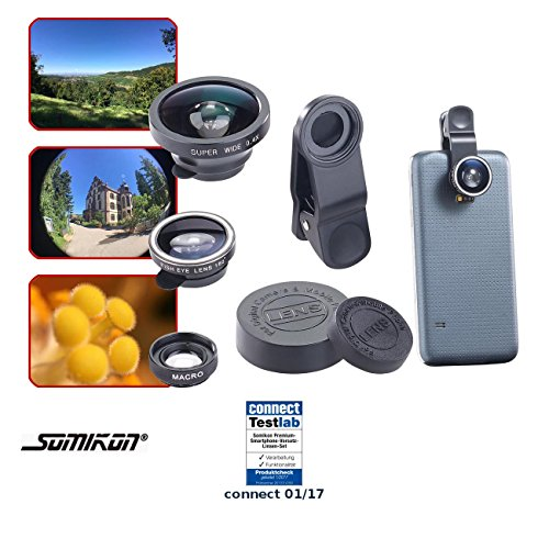 Somikon Vorsatzlinsen: Premium-Smartphone-Vorsatz-Linsen-Set m. Weitwinkel, Fischauge & Makro (Handy Linsen)