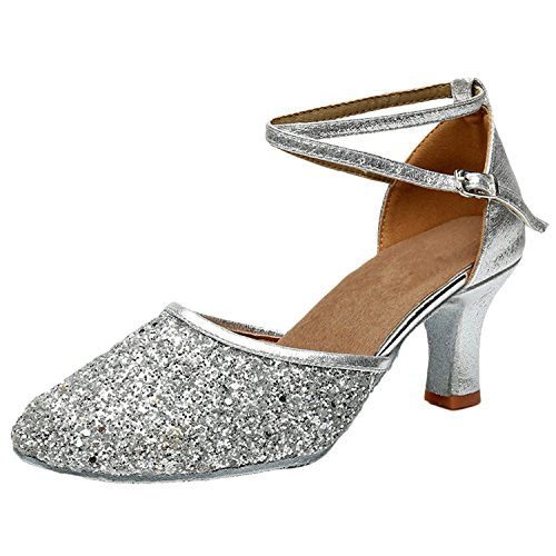 Oasap Women's Fashion Pointed Toe Cross Strap Latin Party Dance Shoes Silver