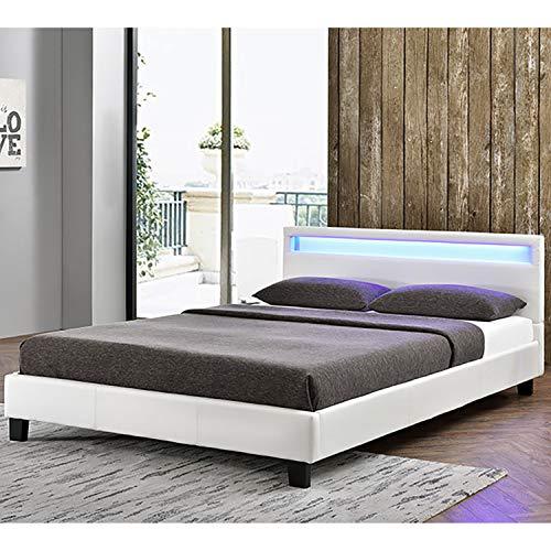 Lattenrost-bett (ArtLife Polsterbett Verona 120 × 200 cm weiß | Bettgestell inkl. LED-Beleuchtung, Kunstleder & Lattenrost | Einzelbett Jugendbett Bett)
