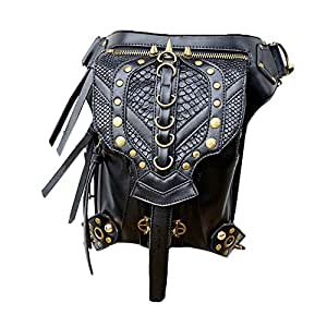 Steelmaster Unisex Gothic Steampunk Casual Pu Satchel Schulter Crossbody Tasche Mini Outdoor Taille Packs