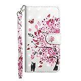 Pheant Huawei P20 Lite Hülle Brieftasche Klapphülle mit Standfunktion Kartenfach und Magnetverschluss 3D Effekt Design Handyhülle Tasche aus PU Leder Silikon Schutzhülle Rosa Blumenbaum Muster