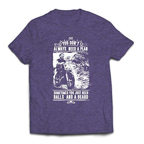 lepni.me Männer T-Shirt Sie brauchen Nicht Immer einen Plan - Motorrad, Liebe zu reiten, großes Geschenk für Biker (Medium Heidekrautgrau Mehrfarben) -