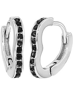 In Season Jewelry Kinder Mädchen - Creolen Ohrringe Kleine Liebe Herzform 925 Sterling Silber Schwarz CZ Zirkonia...
