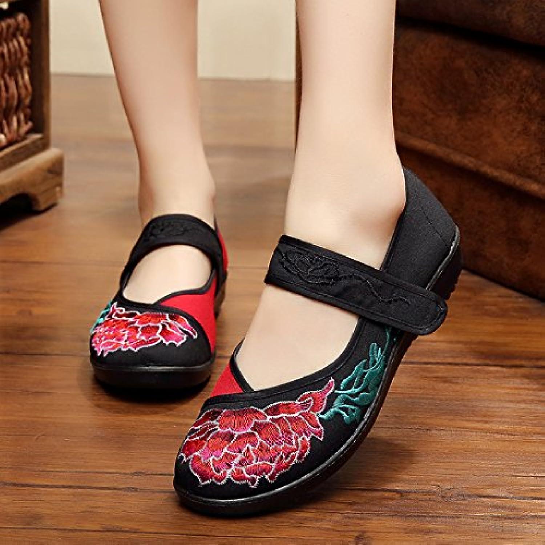 fad8db4de374f9 khskx dans le style folklorique de de de femmes brodés de chaussures avec  semelles épaisses muffin du vieux beijing chaussures lumière mère ...