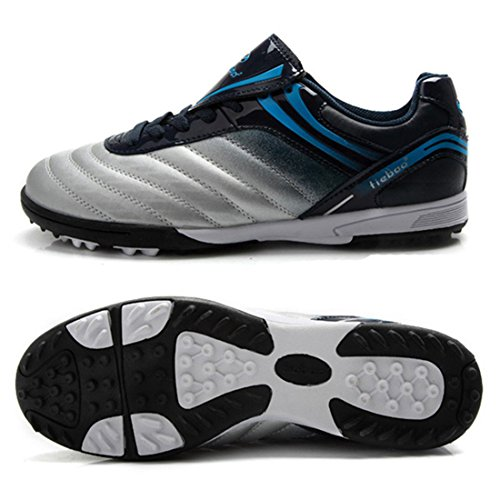 Men's Turf Soles Soccer Cleats Athletic Football Shoes Silver Black