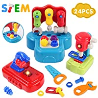 GILOBABY Kids Toddlers Tool Toys, Children Early Learning Educational Toy for 2 Year Old+, Boys Girls Baby Toy Tool Bench 24 months+ Gifts, Pretend Role Play Preschool Motor Skills Toy, Lights& Sound