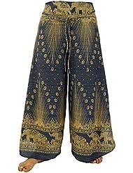 Palazzohose Hosenrock Schlaghose Sommerhose Hippie Goa Hose blau / lange Hosen