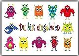 Einladungskarten Monster Kindergeburtstag Monsterparty Einladung Geburtstag Kinder - 8 Stück für Jungen & Mädchen Monstertruck Kinderparty Geburtstagswinladung Halloween Party gruselig Karneval Fasching