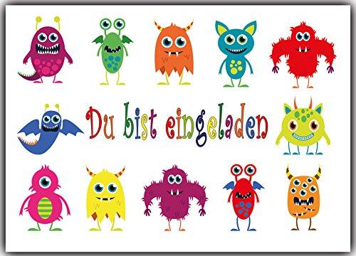 Einladungskarten Monster Kindergeburtstag Monsterparty Einladung Geburtstag Kinder - 8 Stück für Jungen & Mädchen (Jungen Ein Stück)