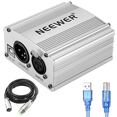 Neewer 1-Kanal 48V USB Phantomspeisung mit 5 Fuß USB-Kabel, XLR zu XLR 3 Pin Mikrofonkabel für jedes Kondensatormikrofon Musik Aufnahmegeräte(Silber)