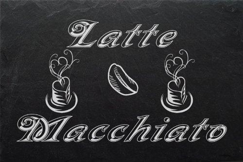 """Schiefertafel mit wetterfester Lasergravur des Motives """"Kaffee-005"""" z. B. als Deko für Kaffeeecke oder als Schild für die Kaffeeküche von LaserArt24"""