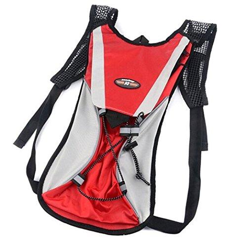 lazutom 2L Nylon Hydration Pack Blase Wasser Tasche Rucksack Radfahren Tasche Wandern Klettern Beutel Wandern Klettern survival Outdoor Rucksack rot - rot
