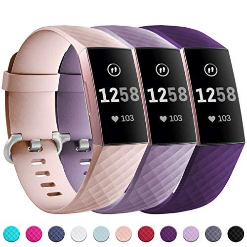 Zekapu Armband Kompatibel für Fitbit Charge 3, Verstellbares Klassisches Armbänder mit Klassischer Aluminiumlegierung Schnalle kompatibel für Fitbit Charge 3, Klein Pflaume/Lavendel/SandRosa