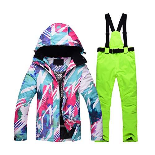 Queenhairs completo da sci da donna set di pantaloni da sci caldi da sci a doppia tavola impiallacciati per esterni invernali
