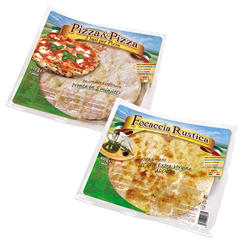 Pizza & FOCACCIA KIT 3 Packs of Pizza Bases + 2 Packs of Focaccia Rustica - 100% Made in Italy