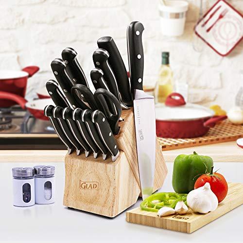 GLAD GLD-79053 Küchenmesser-Set, 15-teilig, inkl. Schere, Schärfwerkzeug und Block, Edelstahl mit satinierter Oberfläche, Einheitsgröße