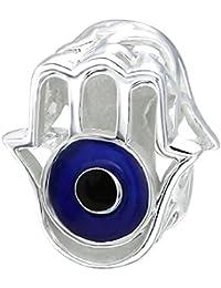 So Chic Joyas - Abalorio Charm mano de Fátima Khamsa Protección ojos azul marino y - Compatible con Pandora, Trollbeads, Chamilia, Biagi - Plata 925
