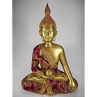 sitzende Thai Buddha Statue 24 x 17 cm rot gold Asien Afrika Figur Deko GDET B4