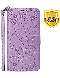 Boloker Case for Xiaomi Pocophone F1 [with Tempered Glass Screen Protector], [Kickstand] Retro Flip Case Elegant Vintage Diamond Design PU Leather Protective Case (Purple)