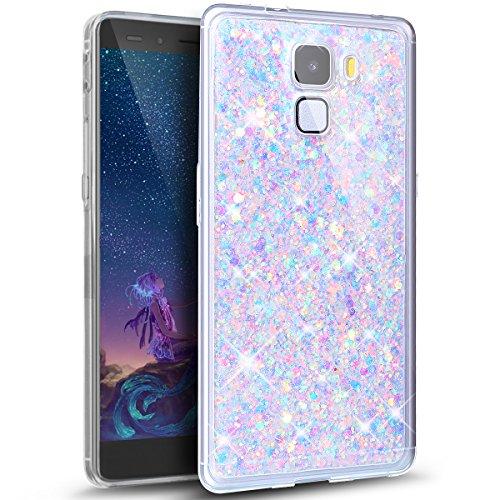 Kompatibel mit Huawei Honor 7 Hülle,ikasus Glänzend Bling Glitzer Diamant Muster TPU Silikon Handy Hülle Tasche Silikon Case Durchsichtig Handyhülle Etui Case Cover Schutzhülle für Huawei Honor 7,Lila