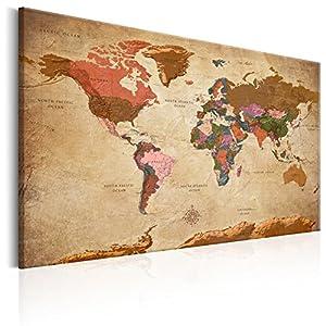Murando   Weltkarte Pinnwand 90x60 Cm   Bilder Mit Kork Rückwand   Set Mit  50 Markierfähnchen