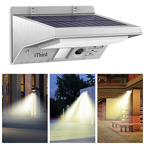 iThird Solarleuchte mit bewegungsmelder für Garten, Veranda, Treppen, Terrasse, Garagen, Eingang, 21 superhelle LEDs, 3 Beleuchtungsmodi, Metallgehäuse(Warmweiß)